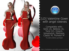 [LD] Valentine Gown w Angel Sleeves Gown (Lettie Bellic) Tags: valentine gown dress red sleeves