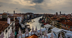 From the rooftops (Peter Leigh50) Tags: town townscape city cityscape clouds sky landscape venice canal building italy fuji fujifilm boat people church bridge tower