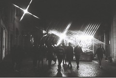 Roma (goodfella2459) Tags: nikonf4 afnikkor50mmf14dlens kodaktrix400 35mm blackandwhite film night analog city streets pedestrians italy rome roma filter crossstarfilter road light bwfp lensfiltersgroup