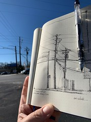 Poles and wires (schunky_monkey) Tags: illustration art fountainpen penandink ink pen journal drawing draw sketchbook sketching sketch pleinair wires telephonewires poles telephonepoles