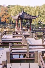 Lakeside Pavilions (Taomeister) Tags: kodaknewektachrome nikonfm3a voigtlandernoktonsliis58mmf14 e100 ektachromee100 westlakehangzhou
