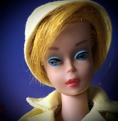 Golden Girl (Foxy Belle) Tags: doll tlc barbie vintage color magic hat rain gear yellow coat calendar