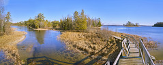 025558  It's A Beautiful Day. Come With Me On A Hike In The Wetlands And Dunes In Ludington State Park. (David G. Hoffman) Tags: panorama path boardwalk wetlands woods reflections river vanishingpoint