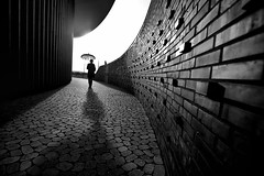 Reading between the lines~ germany (~mimo~) Tags: shadow curve geometry blackandwhite architecture skulpturenhalle photography street conceptual umbrella germany deutschland neuss