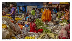 In the Flower Market, Kolkata. (Richard Murrin Art) Tags: intheflowermarket kolkata india people richard murrin art crowd group