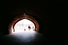 The Arch, Prospect Park, Brooklyn, NYC (Gabriella Ollandini) Tags: park nyc winter people brooklyn streetphotography contrast analog 35mm arch kodak tunnel analogue filmcamera prospect analogica ektar filmphotography filmisnotdead family nature play usa silhouette