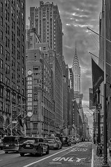 The Benjamin and The Chrysler BW (Susan Candelario) Tags: america americanflag artdeco chryslerbuilding clouds flag manhattan nationality nyc newyork newyorkcity usa usaflag unitedstate unitedstatesflags architectural architecture benjaminhotel building cabs cars cityscape clock cloudy day daytime details flags highrises historic historical hotels iconic landmark lights lit marquees midtowm rushhour signs skyscrapers street structures sundown sunset taxi time traffic transportation urban vehicles vehicular vintage yellow yellowcab