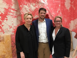 Artist Mette Tommerup, gallerist Brook Dorsch and Lorie Mertes, Curator, at the art talk with Mette Tommerup at Emerson Dorsch Gallery.