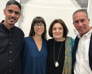 Artists Leyden Rodriguez and Frances Trombly with Suzanne Delehanty and Dr. Richard Davi at the fundraiser dinner at Dimensions Variable.