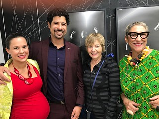 Andrea and Adam Ganuza, he, of the Knight Foundation, with Cathy Leff (Bakehouse) and artist Charo Oquet at the DV fundraiser dinner and performance