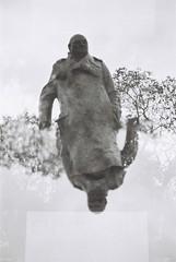 Churchill Statue (Multiple Exposure) (goodfella2459) Tags: nikonf4 afnikkor50mmf14dlens ilfordhp5plus400 35mm blackandwhite film analog statue experimental winstonchurchill history doubleexposure multipleexposure bwfp