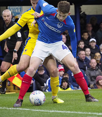 Max Sanders pursued by Steve Seddon (Portsmouth) (Packhorsetravel) Tags: leagueone maxsanders skybet steveseddon portsmouthvwimbledonafc photobarryzee 11012020 england hampshire portsmouth