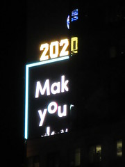 2020 Number One Times Square Building 4298 (Brechtbug) Tags: 2020 number one times square building with light bulb sign top waterford crystal ball back its pole new york city years eve 01132020 billboard advertisement decade january