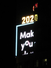 2020 Number One Times Square Building 4295 (Brechtbug) Tags: 2020 number one times square building with light bulb sign top waterford crystal ball back its pole new york city years eve 01132020 billboard advertisement decade january