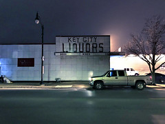 Key City Liquors (plasticfootball) Tags: kankakee illinois nighttime liquorstore keycityliquors