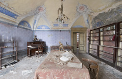 Villa del Dentista (Jonnie Lynn Lace) Tags: abandoned italy italia italian europe european trip travel interior table ceiling yellow purple blue red pink colours colorful pastels old classic history time memories decay derelict house home mansion painting art arte artwork architecture piano bookshelf wide nikkor d750 nikon relics lost lostplace details texture shadows chandelier jonnielace exploration explore explorer urbex family flickr digital