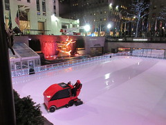 2020 Gold Covered Prometheus Statue And Zamboni Ice Resurfacer 4281 (Brechtbug) Tags: 2020 gold covered prometheus statue rockefeller center nyc 30 rock new york city with zamboni ice rink 01132020 sculpture myth mythology greek roman red resurfacer