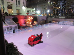 2020 Gold Covered Prometheus Statue And Zamboni Ice Resurfacer 4280 (Brechtbug) Tags: 2020 gold covered prometheus statue rockefeller center nyc 30 rock new york city with zamboni ice rink 01132020 sculpture myth mythology greek roman red resurfacer