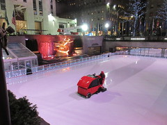 2020 Gold Covered Prometheus Statue And Zamboni Ice Resurfacer 4279 (Brechtbug) Tags: 2020 gold covered prometheus statue rockefeller center nyc 30 rock new york city with zamboni ice rink 01132020 sculpture myth mythology greek roman red resurfacer