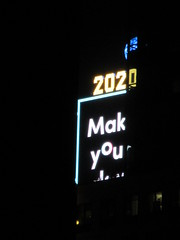 2020 Number One Times Square Building 4299 (Brechtbug) Tags: 2020 number one times square building with light bulb sign top waterford crystal ball back its pole new york city years eve 01132020 billboard advertisement decade january