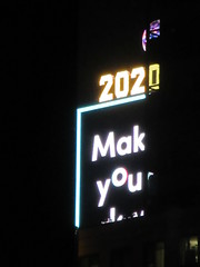 2020 Number One Times Square Building 4297 (Brechtbug) Tags: 2020 number one times square building with light bulb sign top waterford crystal ball back its pole new york city years eve 01132020 billboard advertisement decade january