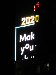 2020 Number One Times Square Building 4296 (Brechtbug) Tags: 2020 number one times square building with light bulb sign top waterford crystal ball back its pole new york city years eve 01132020 billboard advertisement decade january