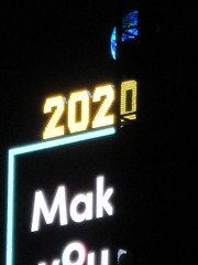 2020 Number One Times Square Building 4293 (Brechtbug) Tags: 2020 number one times square building with light bulb sign top waterford crystal ball back its pole new york city years eve 01132020 billboard advertisement decade january