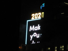 2020 Number One Times Square Building 4291 (Brechtbug) Tags: 2020 number one times square building with light bulb sign top waterford crystal ball back its pole new york city years eve 01132020 billboard advertisement decade january