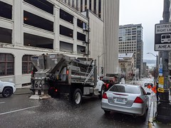 Salting on Columbia St (Seattle Department of Transportation) Tags: seattle sdot transportation winter weather response snow january 2020 truck salter deicer deicing salt spreader columbia downtown preparation dongho chang