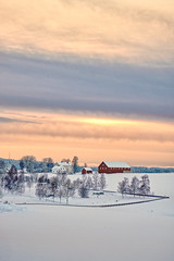 The barn, Norway (Vest der ute) Tags: norway xt20 fav25 landscape snow winter winterscape trees barn sky clouds road houses fav200