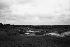 Ricoh 500RF - Ilford Delta 100 Pro (3) (meniscuslens) Tags: industrial sand quarry bedfordshire leighton buzzard sky clouds vintage film camera ricoh 500rf ilford delta bw bnw mono monochrome