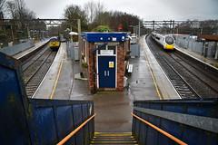 Up The Junction (wwatfam) Tags: colas railfreight class 56 diesel electric locomotice ballast train spoil avanti west coast pendolino emu 390 express passenger kidsgrove staffordshire england britain footbridge