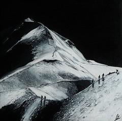 Mont Blanc Acrylique sur toile 15x15cm A VENDRE