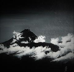 Pic du midi de Bigorre Acrylique sur Toile 15x15cm À vendre