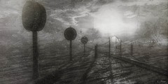 Expectations 1: Countdown (Loegan Magic) Tags: secondlife clocks water traintracks gate sky clouds abstract surreal