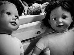Dolls (❀ Rosemarie Christina ❀ [Very slow, sorry!]) Tags: blackandwhite blackwhitephotos toys bw zwartwit monochrome mono flickrelite bwartaward