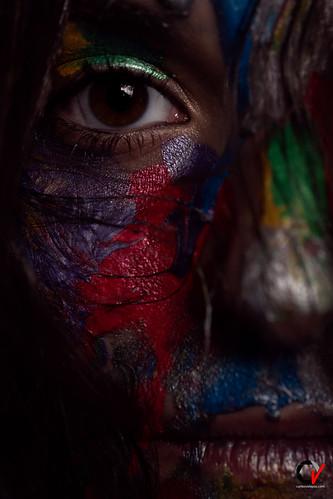 Dark and colorful. Dark gaze.