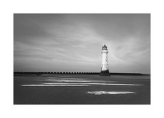 Lighthouse Revisited (CaptureLight_71) Tags: uk england seaside coast beach sea weather moody blackwhite bw monochrome sony seascape photography january 2020 winter dawn water outside sky fineart clouds sand light landscape newbrighton zeiss a7r3 alpha mirrorless fullframe lighthouse