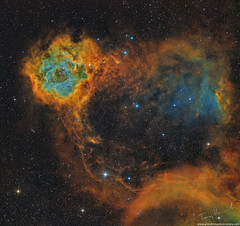 Rosette in Monoceros Hubble Palette (Terry Hancock www.downunderobservatory.com) Tags: universe universetoday astronomy astrophoto astrophotography astroimaging sky space ngc2244 rosette redcat williamoptics qhy qhyccd qhy16200 grandmesaobservatory colorado westernslopes deepsky deepspace deepspacephotography cosmos