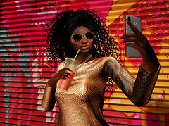 Strawberry Shake (caronloon) Tags: erratic foxcity sunglasses telephone juice selfie nomatch fashion