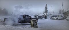 Minus 30 . . . (JLS Photography - Alaska) Tags: alaska alaskalandscape cold frost frosty frozen frigid glennallen jlsphotographyalaska vehicle trucks exhaust belowzero winter sign weather snow copperbasin300sleddograce