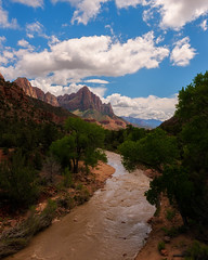Nature reserves the right to inflict upon her children the most terrifying jests... (ferpectshotz) Tags: zioncanyon nationalpark thewatchman virginriver flood muddy desert redrocks utah beautiful landscapephotography travelphotography day evening