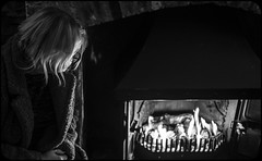 Fire watcher. (CWhatPhotos) Tags: cwhatphotos flickr artistic art photographs photograph pics pictures pic picture image images foto fotos photography that have which with contain olympus omd em1 mk ll micro four thirds 43 camera portrait fire place bw mono black white warm winter watching dark shadow light heat