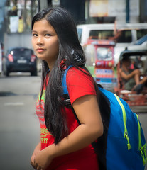 Slightly Curious Passerby (Beegee49) Tags: street people woman filipina student smiling curious happyplanet sony a6000 bacolod city philippines asia