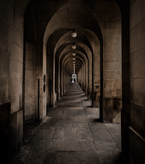 Manchester Library Walkway (Palmprints Photography.) Tags: palmprintsphotography manchester city iconic library walkway cityscape disappear lighting shadows brown stone