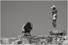 shoot me girlfriend (Bluescruiser1949) Tags: women cartagena columbia tourists historicalsite blackandwhite blackwhite wanderingaboutphotography candidshot streetphotography bluescruiser1949