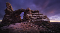 Turret Arch (onefivefour) Tags: archesnationalpark turret arch arches utah bluehour night blue red rock