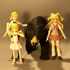 Three Goldilocks and the Bear (Sasha's Lab) Tags: eli ayase rika jougasaki shinobu oshino bear girl teen tween junior high school uniform dress figma action figure jfigure gsc