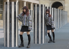 Chinese model posing leaning against the Buren columns (pivapao's citylife flavors) Tags: paris france girl beauties architecture fashion stitched