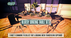 crate's Bluesy Dining Table Set (crate.) Tags: crate decor dining table plant vase placesetting flatware chair blue green theepiphany